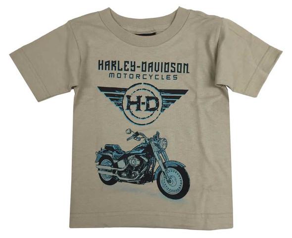 Harley-Davidson Little Boys' Inked Motorcycle Youth Short Sleeve T-Shirt, Brown - Wisconsin Harley-Davidson