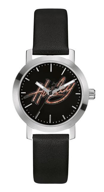 Harley-Davidson Women's Bulova Watch, Glitter Harley Script, Black Strap 76L175 - Wisconsin Harley-Davidson
