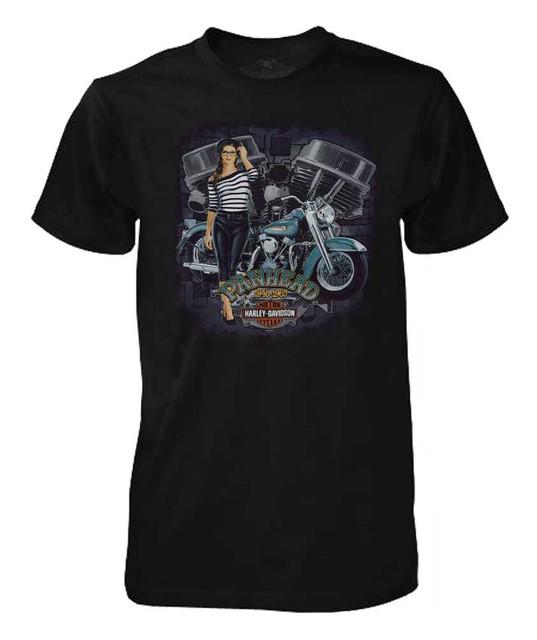 Harley-Davidson Men's T-Shirt, Panhead V-Twin Engine Pinup Girl, Black 30293485 - Wisconsin Harley-Davidson