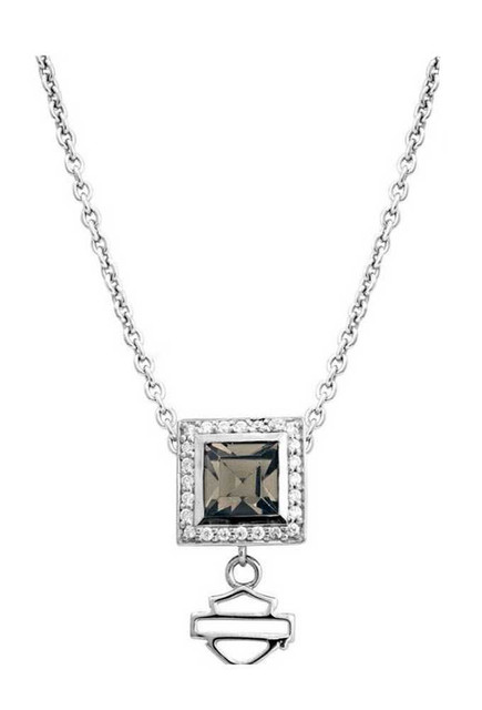 Harley-Davidson Womens Necklace, Black Ice Crystal Square Pendent HDN0310 - Wisconsin Harley-Davidson