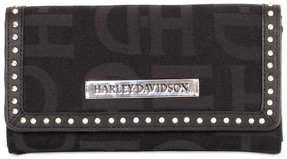 Harley-Davidson Womens Black H-D Logo Jacquard Clutch Wallet HD3480J-BLACK - Wisconsin Harley-Davidson