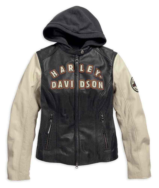 Harley-Davidson Womens Rallyrunner 3-in-1 Leather Jacket Black/White. 98087-15VW - Wisconsin Harley-Davidson