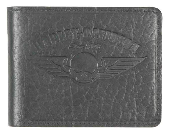Harley-Davidson Men's American Bison Skull Billfold Wallet, Black US1681L-BLACK - Wisconsin Harley-Davidson