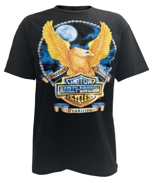 Harley-Davidson Men's Bright Moon Eagle Bar & Shield Short Sleeve Tee, Black - Wisconsin Harley-Davidson