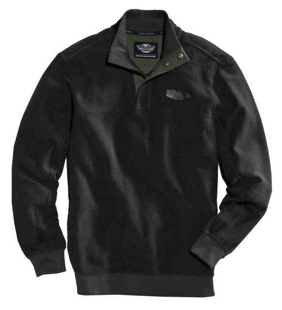 Harley-Davidson Men's Motors Pique 1/4-Snap Fleece Pullover, Black 96028-16VM - Wisconsin Harley-Davidson
