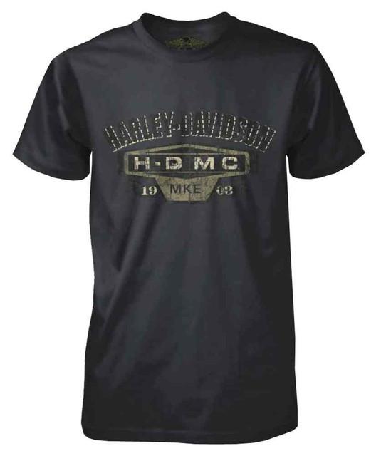Harley-Davidson Men's Black Label Distressed HDMC Logo T-Shirt, Dark Shadow - Wisconsin Harley-Davidson