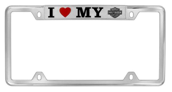 Harley-Davidson I Heart My H-D License Plate Frame, Chrome Plated HDLFZ186-U - Wisconsin Harley-Davidson