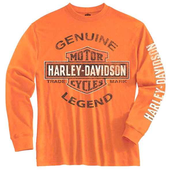 Harley-Davidson Little Boys' Tee, Long Sleeve Genuine Legend, Orange 1580507 - Wisconsin Harley-Davidson