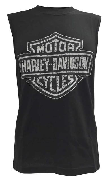 Harley-Davidson Mens Sleeveless Muscle Tee, Distressed Tonal Bar & Shield, Black - Wisconsin Harley-Davidson