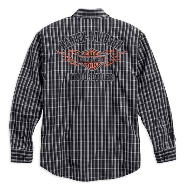 Harley-Davidson Men's Flames Plaid Shirt LS, Black/White. 99006-16VM - Wisconsin Harley-Davidson