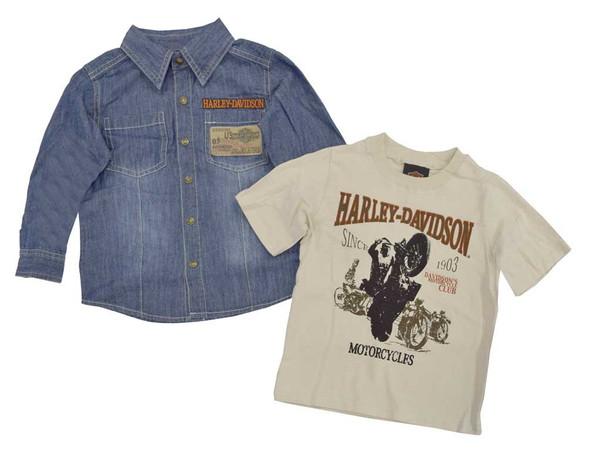 Harley-Davidson Little Boys' Shirts, Denim Long Sleeve/Tan Short Sleeve 3282240 - Wisconsin Harley-Davidson