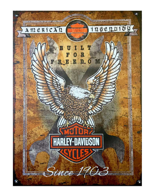 Harley-Davidson Built For Freedom Eagle Textured Aluminum Sign AC6-BFF-E-HARL - Wisconsin Harley-Davidson