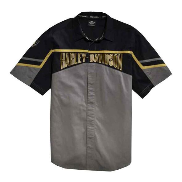 Harley-Davidson Men's Woven Shirt, HDMC '03 Colorblocked, Gray 96454-15VM - Wisconsin Harley-Davidson