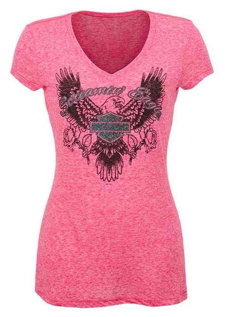 Harley-Davidson Screamin' Eagle Women's Glittery Eagle Rose Tee, Pink HARLLT0178 - Wisconsin Harley-Davidson