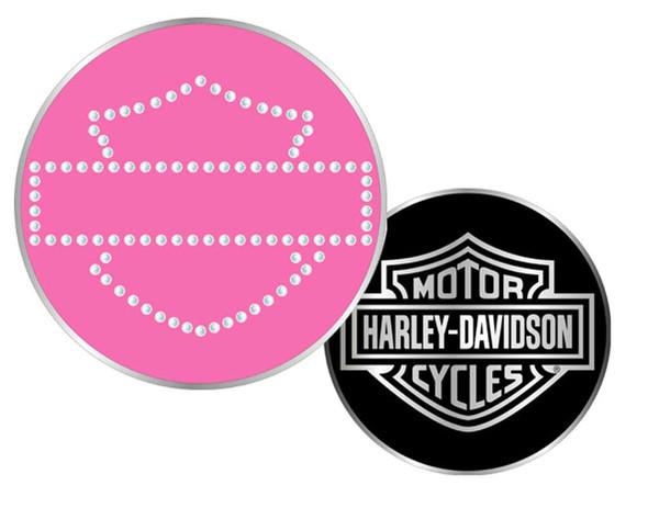Harley-Davidson Bar & Shield Rhinestone Challenge Coin 1.75'' Pink 8002985 - Wisconsin Harley-Davidson