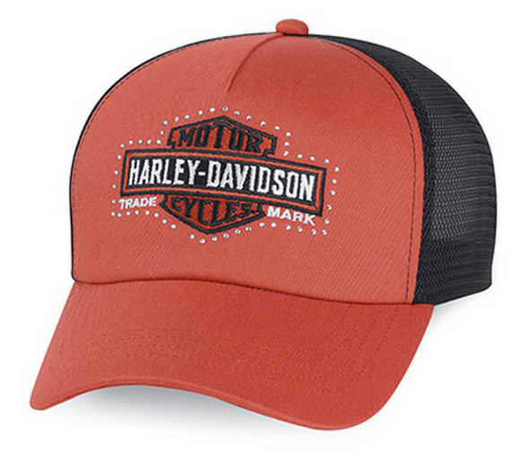 Harley-Davidson Women's Bar & Shield Logo Trucker Cap, Orange/Black. 99500-15VW - Wisconsin Harley-Davidson