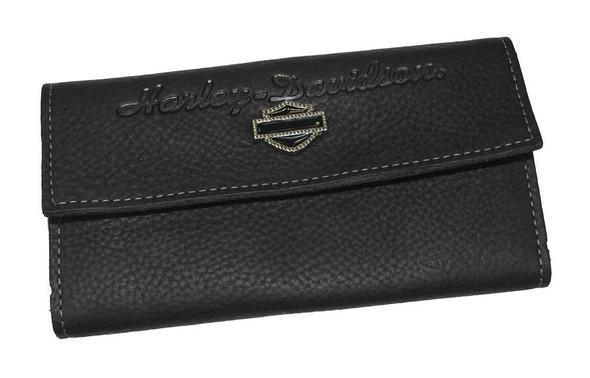 Harley-Davidson Women's Bling Bar & Shield Clutch Wallet Black Leather HD705 - Wisconsin Harley-Davidson