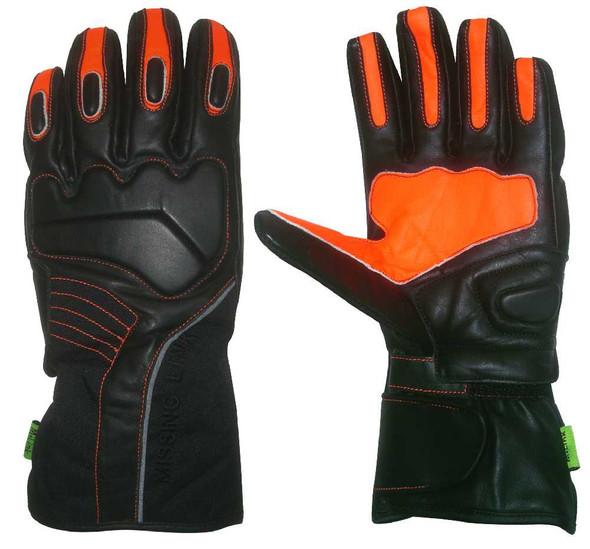 Missing Link Cold Duty Gloves Leather (Black/Hi-Viz Orange) CDGO - Wisconsin Harley-Davidson
