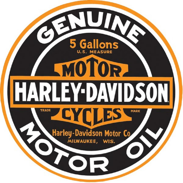 Harley-Davidson Genuine Motor Oil 14 Inch Round Tin Metal Sign 2010621 - Wisconsin Harley-Davidson