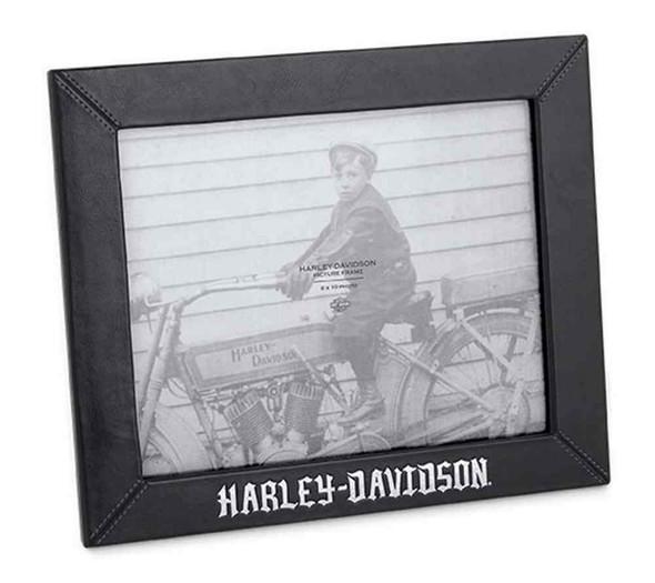 Harley-Davidson Black Leather 8 in. x 10 in. Photo Frame, Black. 96824-16V - Wisconsin Harley-Davidson