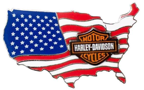Harley-Davidson American Flag USA Logo Pin On Pin, 1.75 x 1 inch 79830 - Wisconsin Harley-Davidson