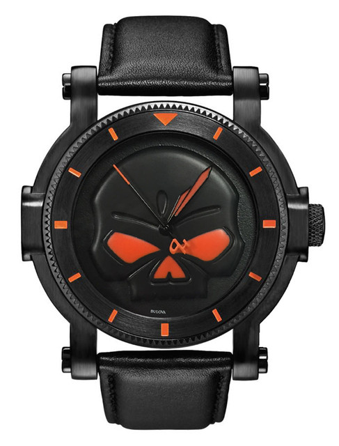 Harley-Davidson Men's Bulova Black Willie G Skull Wrist Watch 78A114 - Wisconsin Harley-Davidson