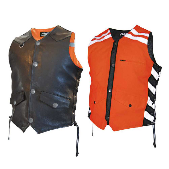 Missing Link Men's G2 D.O.C. Reversible Leather Safety Vest Hi-Viz Orange G2RVMO - Wisconsin Harley-Davidson