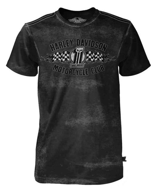 Harley-Davidson Men's Black Label Distressed Tee, Racing Flag #1 Skull, Black - Wisconsin Harley-Davidson