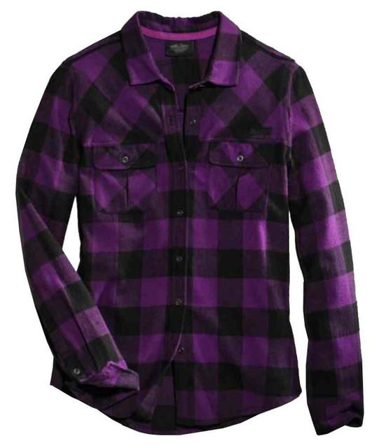 Harley-Davidson Women's Buffalo Long Sleeve Plaid Shirt, Purple 96273-16VW - Wisconsin Harley-Davidson
