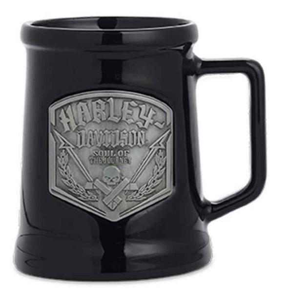 Harley-Davidson Ceramic Pewter Emblem Coffee Mug 20 oz., Black. 96861-16V - Wisconsin Harley-Davidson