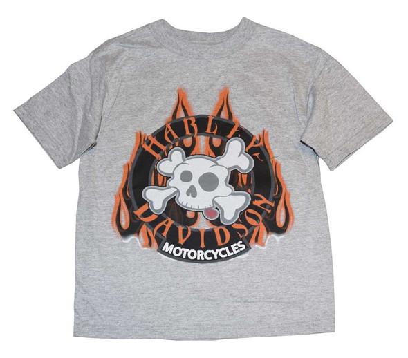 Harley-Davidson Little Boys' Tee, Short Sleeve Skull & Flame, Gray 0184140 - Wisconsin Harley-Davidson
