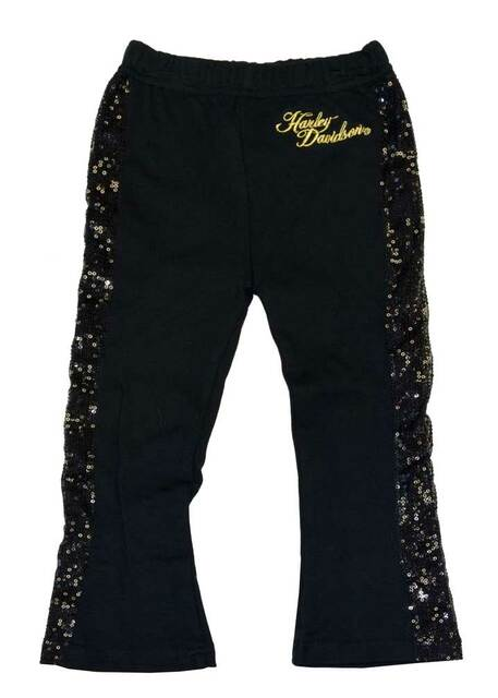 Harley-Davidson Little Girls' Sweats, Interlock Sequin Leggings, Black 4321568 - Wisconsin Harley-Davidson