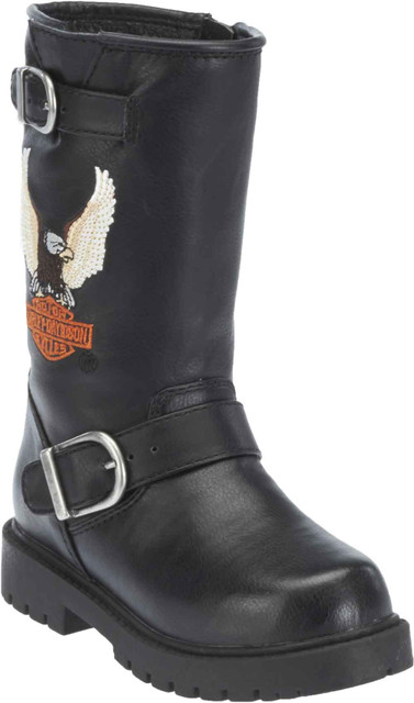 Harley-Davidson Little and Big Kid's Black Faux Leather Engineer Boots. D61012 - Wisconsin Harley-Davidson