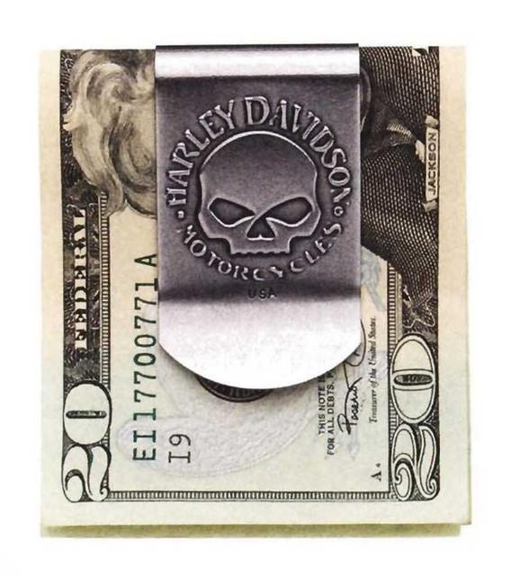 Harley-Davidson Men's Skull Money Clip, Metal Nickel Finish 99453-06V - Wisconsin Harley-Davidson