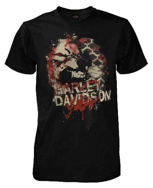Harley-Davidson Men's Short Sleeve Lightweight Tee, Off The Wall Wolf, Black - Wisconsin Harley-Davidson