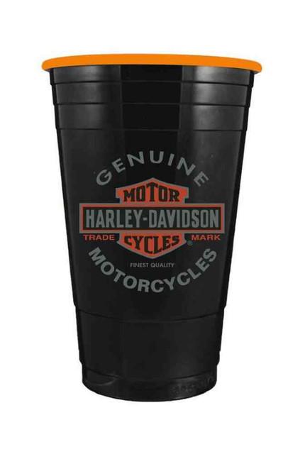 Harley-Davidson Heavyweight Plastic Cup, Long Bar & Shield Orange Inner, 16 oz. - Wisconsin Harley-Davidson