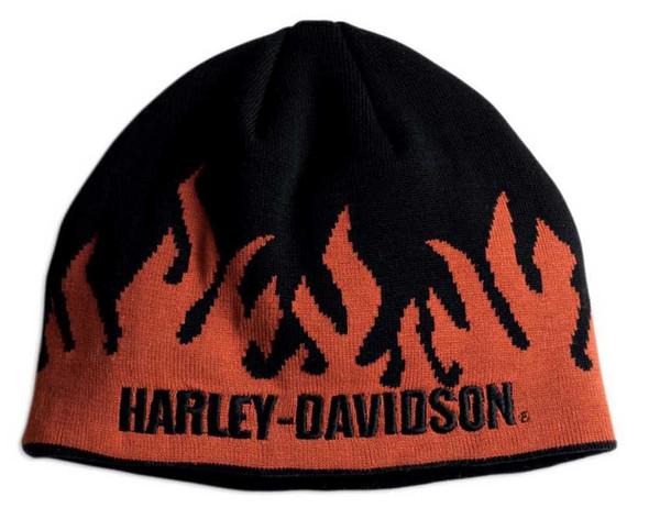 Harley-Davidson Men's Flames Knit Hat Orange & Black 99480-07V - Wisconsin Harley-Davidson