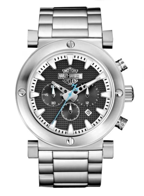 Harley-Davidson Men's Bulova Grey Bar & Shield Chronograph Wrist Watch 76B166 - Wisconsin Harley-Davidson