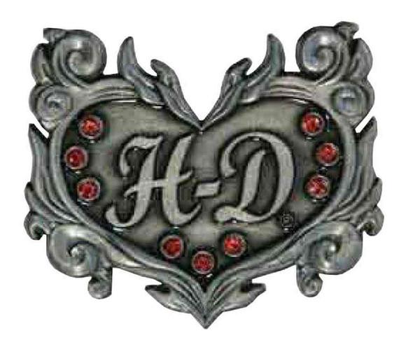 Harley-Davidson Rhinestone H-D Heart Filigree Logo Pin, 1.75 x 1.5 inch 181120 - Wisconsin Harley-Davidson