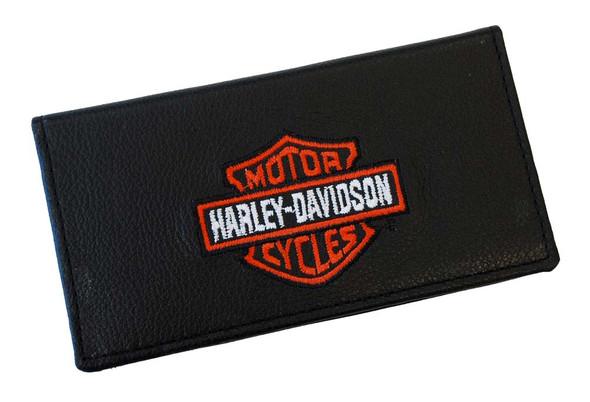 Harley-Davidson Men's Embroidered Bar & Shield Checkbook Cover Black FC806H-2 - Wisconsin Harley-Davidson