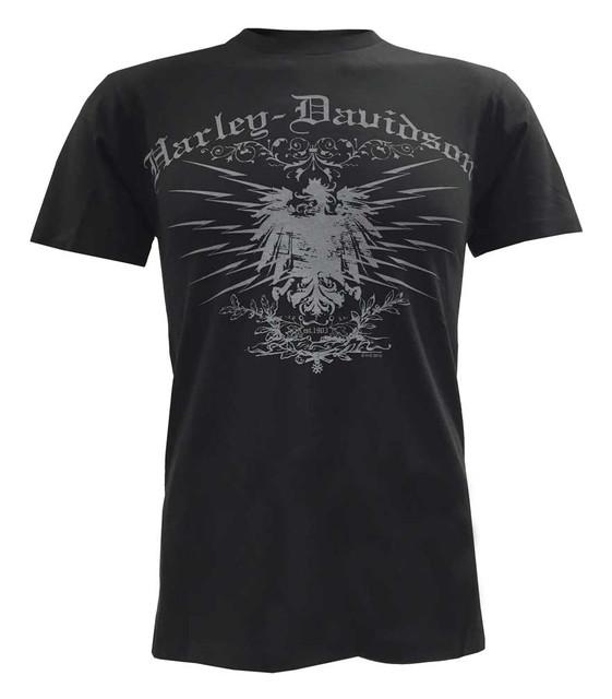 Harley-Davidson Men's Lightweight Short Sleeve Tee, Charged Eagle Graphic, Black - Wisconsin Harley-Davidson