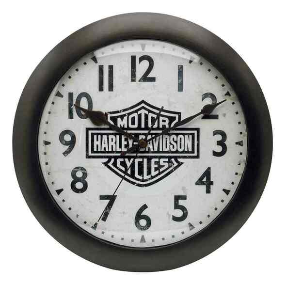 Harley-Davidson Bar & Shield Logo Silent Clock Bar/Garage White/Black. 99204-16V - Wisconsin Harley-Davidson