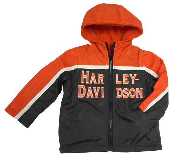 Harley-Davidson Big Boys' Embroidered Reversible Orange Fleece Jacket, 6094549 - Wisconsin Harley-Davidson