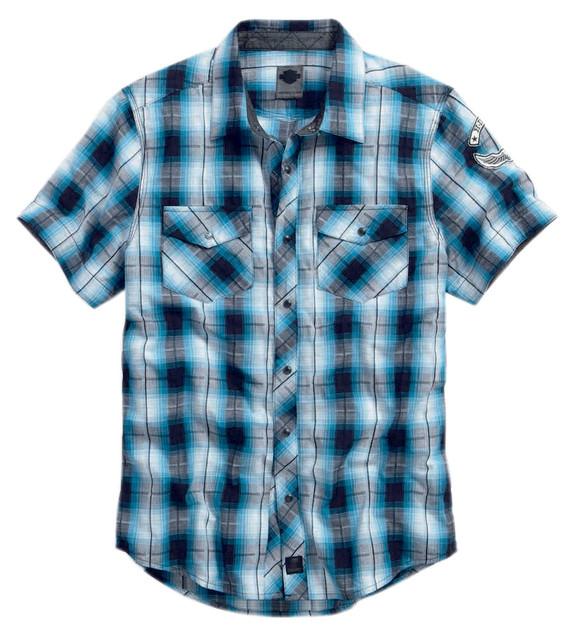 Harley-Davidson Men's Snap-Front Plaid Shirt Short Sleeve Blue/Black. 99024-16VM - Wisconsin Harley-Davidson