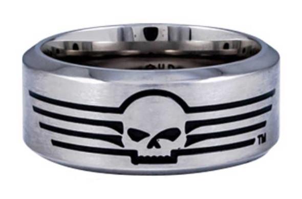 Harley-Davidson Men's Willie G Skull Lines Stainless Steel Band Ring HSR0027 - Wisconsin Harley-Davidson