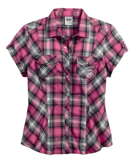 Harley-Davidson Women's Pink Label Metallic Short Sleeve Plaid Shirt 99168-16VW - Wisconsin Harley-Davidson