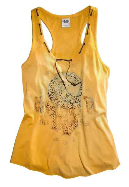 Harley-Davidson Women's Tank Top, Ornate Skull, Radiant Yellow 96014-15VW - Wisconsin Harley-Davidson