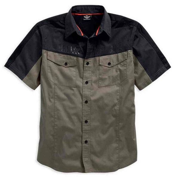 Harley-Davidson Men's Colorblocked Vented Short Sleeve Shirt, Khaki 96020-16VM - Wisconsin Harley-Davidson