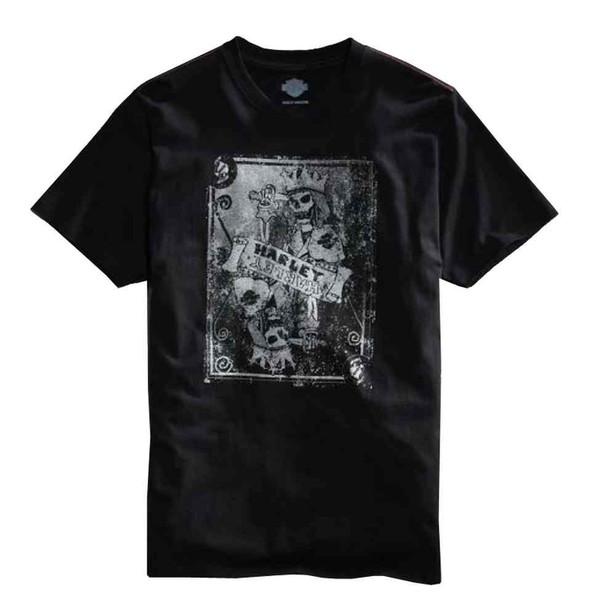 Harley-Davidson Mens T-Shirt, Crowned Skeleton Short Sleeve, Black 96053-15VM - Wisconsin Harley-Davidson