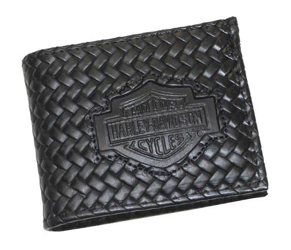 Harley-Davidson Men's Bar & Shield Basket Weave Billfold Wallet Black BH333 - Wisconsin Harley-Davidson